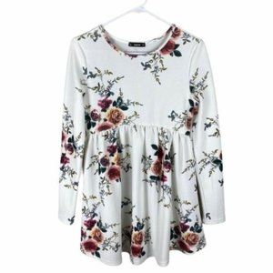 Shein fit and flare white floral mini dress small